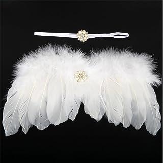 Bullidea 1X Newborn Baby Girl White Feather Angel Wings Headband Set, Newborn Girl Photo White