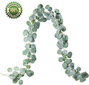 Youthny Artificial Eucalyptus Garland Leaves Vines Faux Silk Eucalyptus Leaves Plants Eucalyptus Greenery Wreath Garland Wedding Party Home Decor