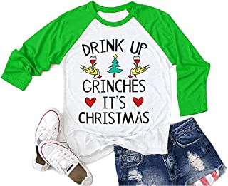 Grinch Shirt Women Funny Drink UP Grinches It's Christmas Shirts for Women