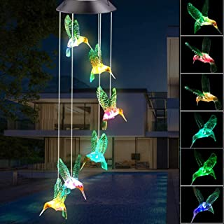 BINWO Wind Chimes Outdoor Solar Hummingbird Wind Chimes Color Changing LED Mobile Wind Chime, Birthday Gifts for Mom/Grandma, Home Party Night Outdoor, Gardening Gift Outside Decor Solar Lights Chime