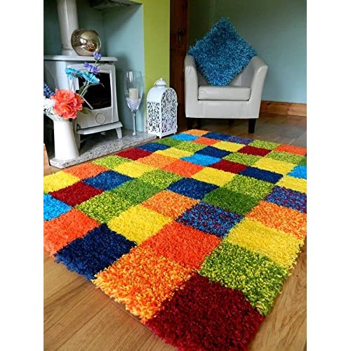 MULTI COLOURED FUNKY BRIGHT MODERN THICK SOFT HEAVY QUALITY SHAGGY AREA RUG SMALL MEDIUM XX LARGE RUG NEW MODERN SOFT NAVY YELLOW CARPET NON SHED RUNNER BEDROOM LIVING ROOM AREA RUG MAT (80 x 150 cms)
