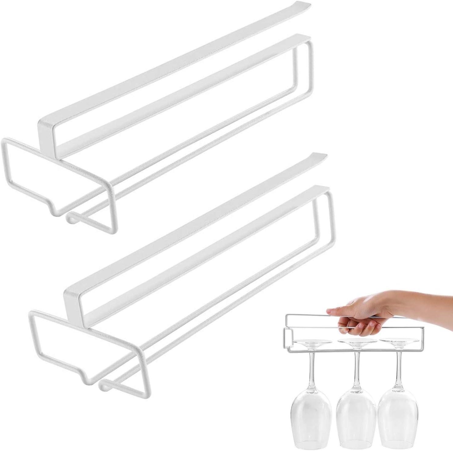 MHwan cuelga copas, soportes para copas, Estante colgante para vasos de vino Soporte para vasos y vasos para cocina, sala de estar, 26 x 11 x 7,5 cm, 2 piezas
