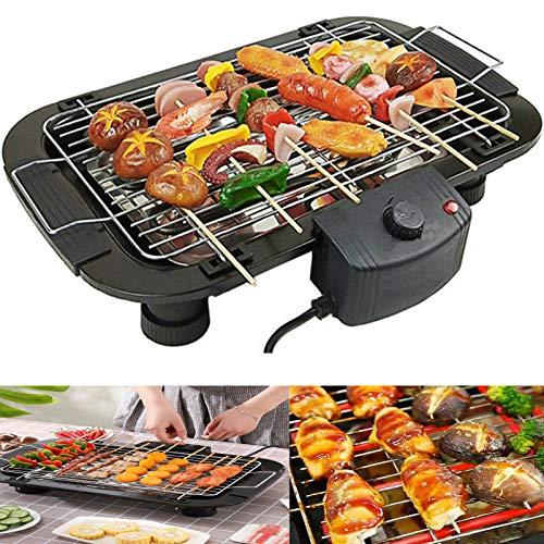 Grill Smokeless Tischgrill 2 in 1 Teppanyaki Elektrogrill Verstellbarer Temperaturregler 1500W, Antihaftende Grillplatte aus Alu-Druckguss, Elektrischer BBQ Grill für Drinnen Draußen Party Garten