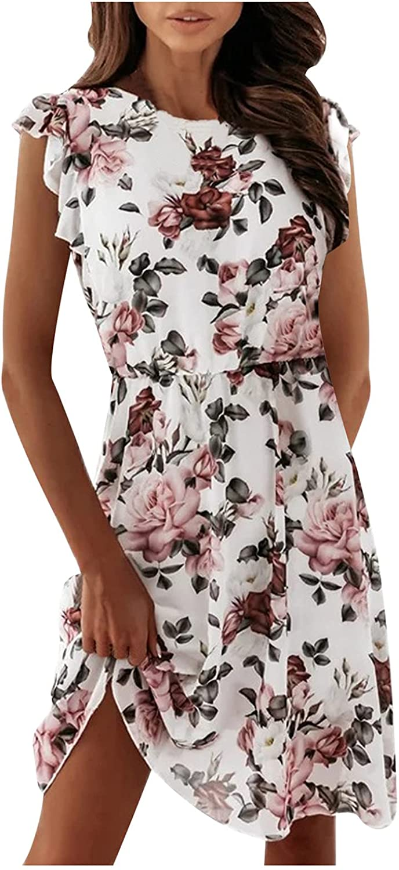 LODDD Womens Round Neck Short Sleeve Knee-Length Dress Fashion Ruffled Chiffon Print Cocktail Party Dress