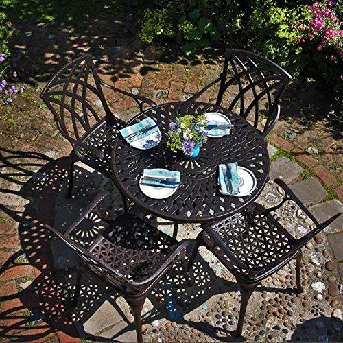 Lazy Susan - MIA 90 cm Runder Gartentisch mit 4 Stühlen - Gartenmöbel Set aus Metall, Antik Bronze (Maria Stühle, Terracotta Kissen)