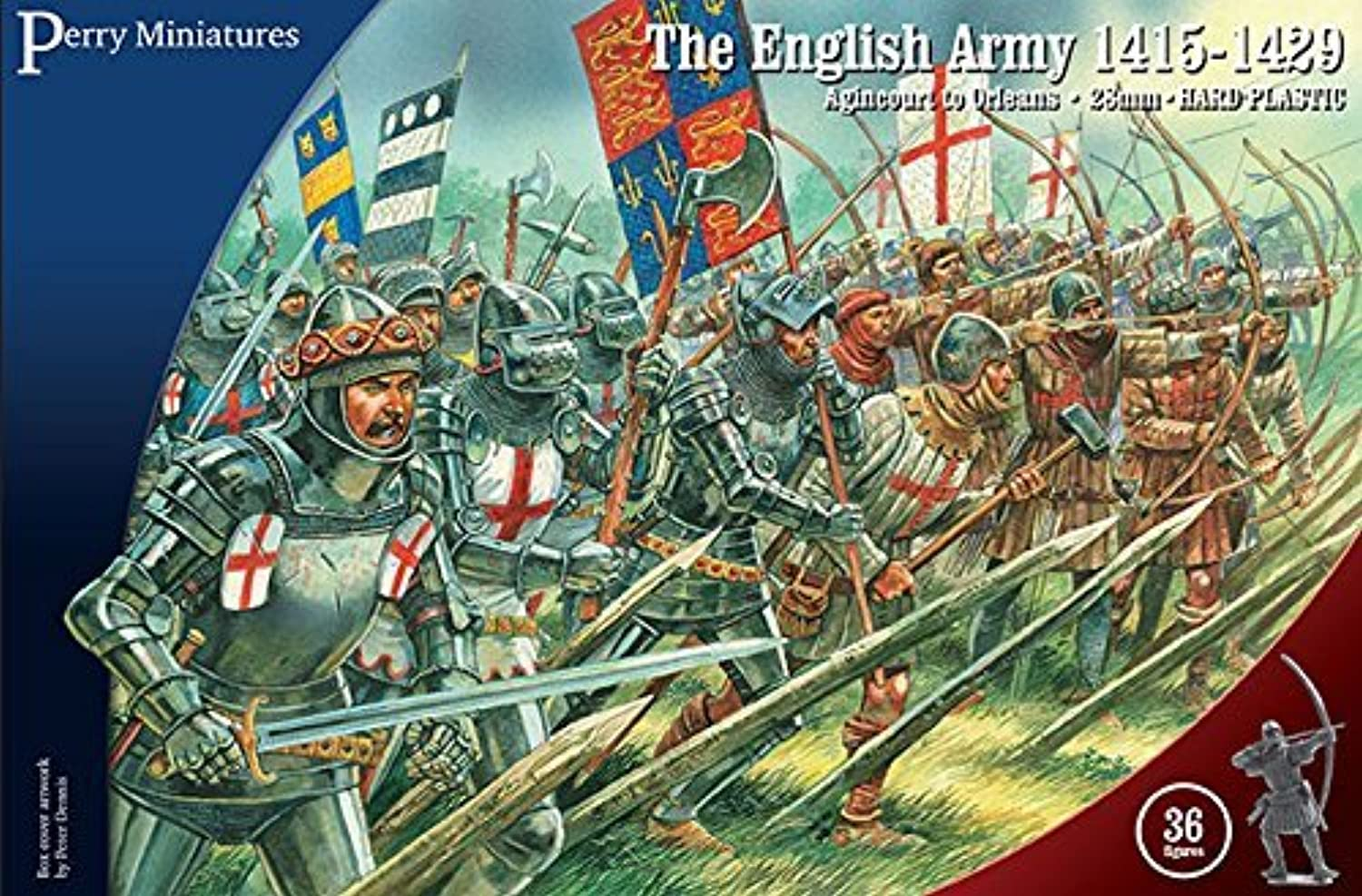 Perry Miniatures AO40 English Army 141529 Agincourt to Orleans 28mm 1 56 Hard Plastic Figures x 36 by Perry Miniatures