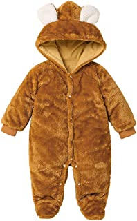 New Baby Boys Girls Cute Bear Hooded Footies Autumn Winter Warm Long Sleeve Footed Romper