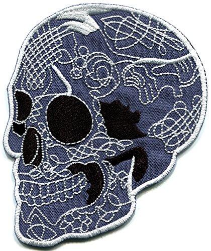 Totenkopf-Tattoo, Horror, Rock & Roll, Biker, Gothic, Emo, Punk, Rock, Metall, bestickt, zum Aufbügeln, S-254