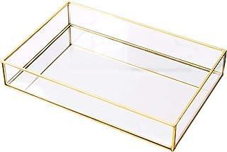 Rectangle Vintage Glass Tray Countertop Holder Dresser Organizer Bathroom Dish Display Party Decorative Centerpiece Deskto...