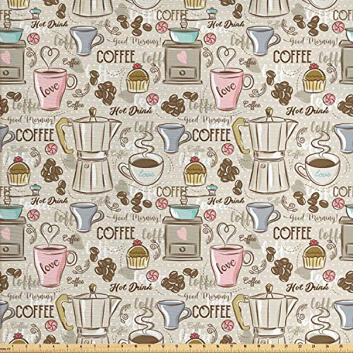 Ambesonne Modern Fabric by The Yard, Coffee Time Vintage Espresso Machine Cupcakes Beans Design, Decorative Fabric for Upholstery and Home Accents, 1 Yard, Pink Beige