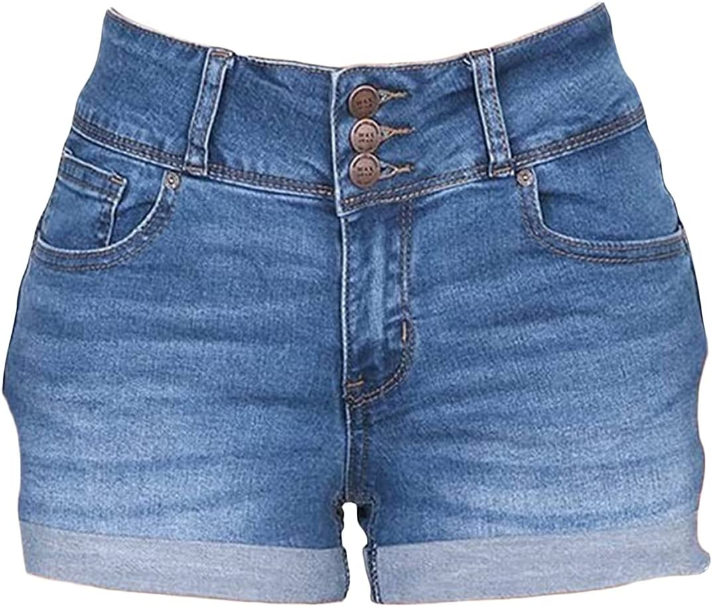 Women's Summer High Waisted Stretchy Denim Shorts Fashion Folded Hem Short Jeans Comfy Straight Cotton Jean Short-Pant (Blue,Large)