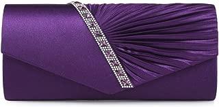 Hi-Q Women's Pleated Wedding Crystal Evening Clutch Handbags Wedding Party Clutch Purse