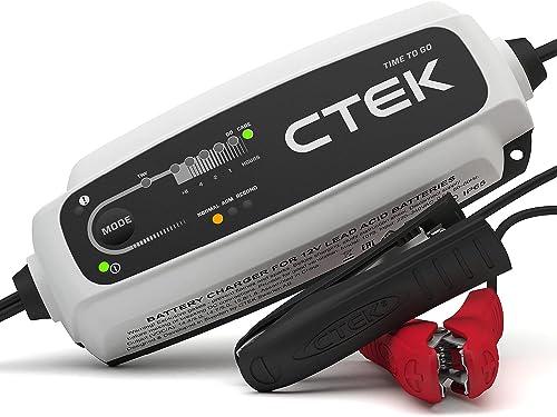 CTEK CT5 Time to Go Chargeur de batterie entièrement automatique avec LED compte à rebours (Charge, maintient et rec...