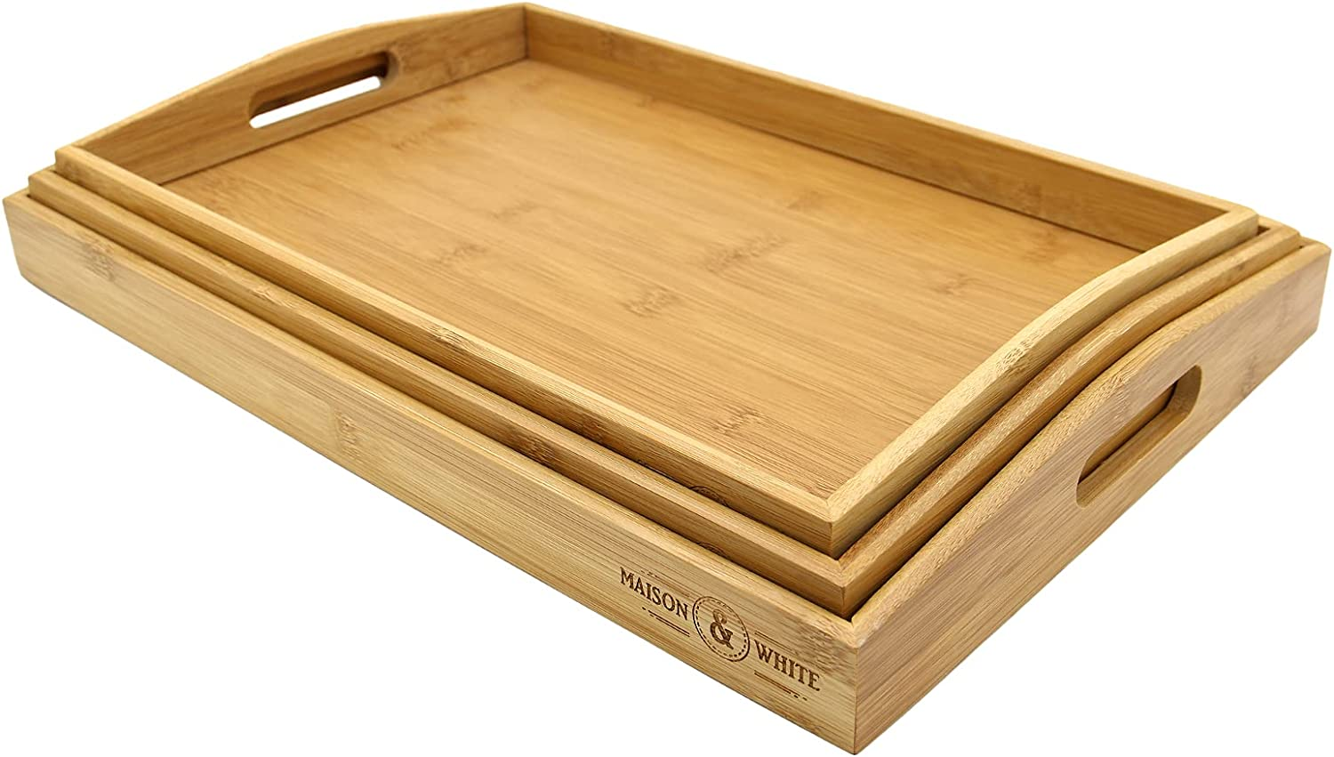 Yuehuam 3 Pack Bamboo Serving with Hnadle Tray Bombing free shipping mart Breakfas Portable