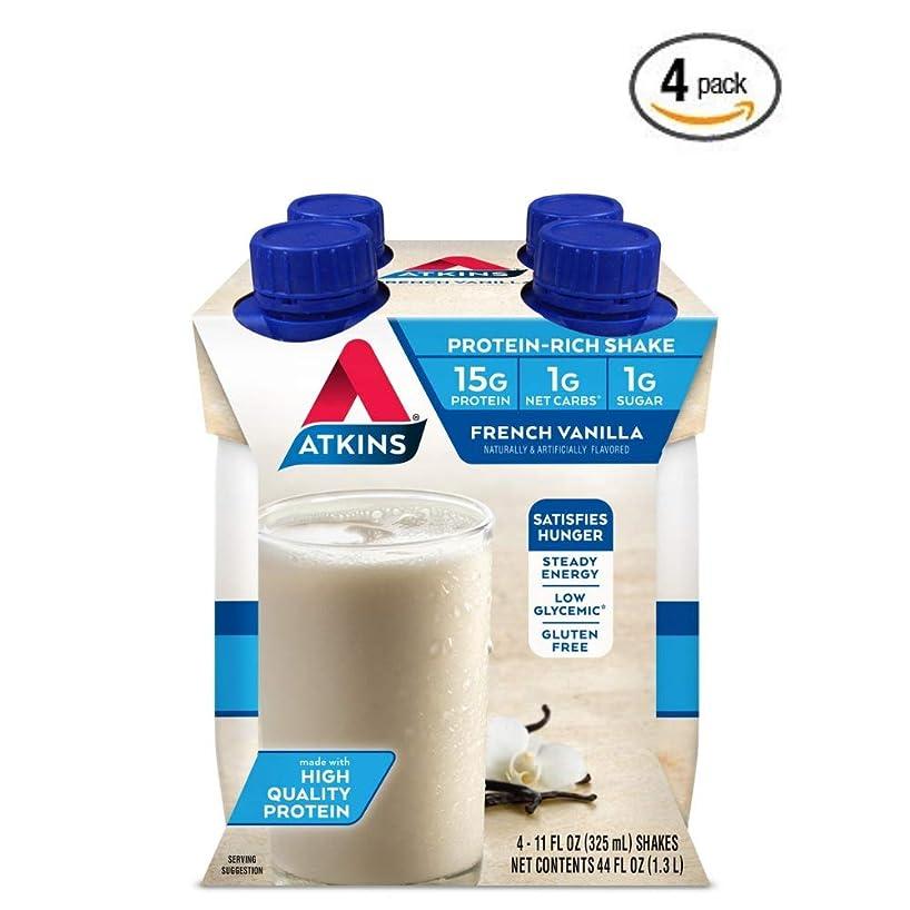 Atkins Gluten Free Protein-Rich Shake, French Vanilla, Keto Friendly, 11 fl oz. 4 Count - 4 Pack