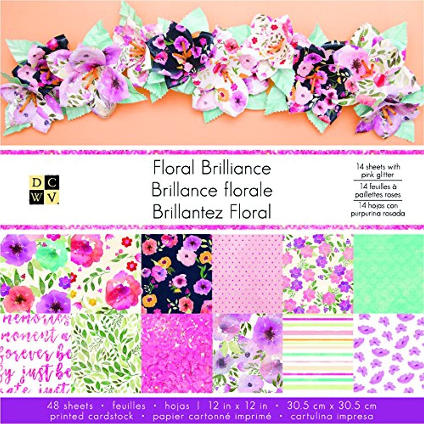 American Crafts 12 x 12 Inch Floral Brilliance 48 Sheets Die Cuts with a View Stacks