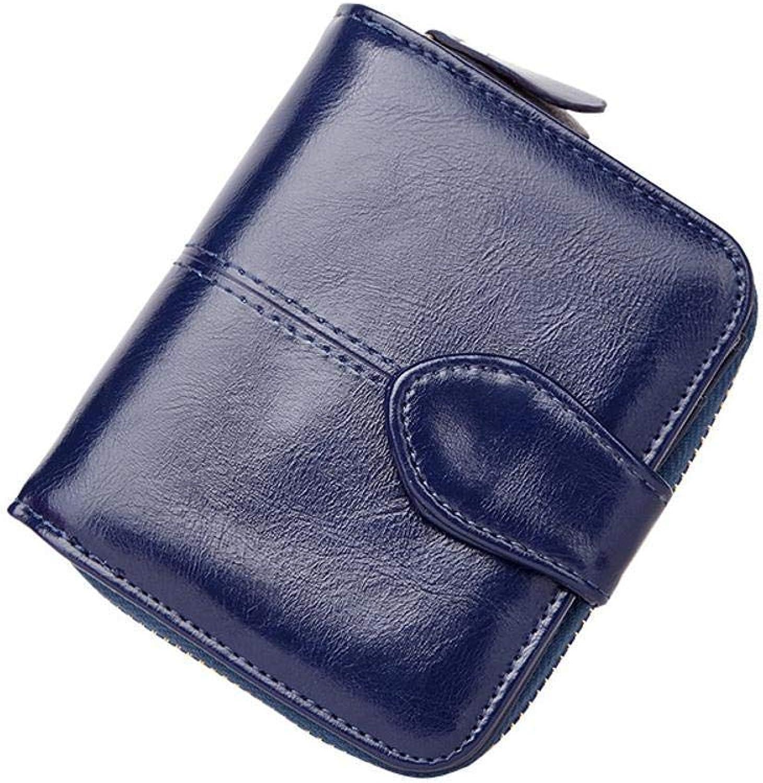 Girls Purse Women's Wallet,Short BI Purse Lady Purse Oil Wax Leather Buckle Wallet (color   D)