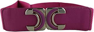 CHOCOLATE PICKLE New Ladies Contrast C Interlock Buckle Wide Elasticated Stretch Belts One Size