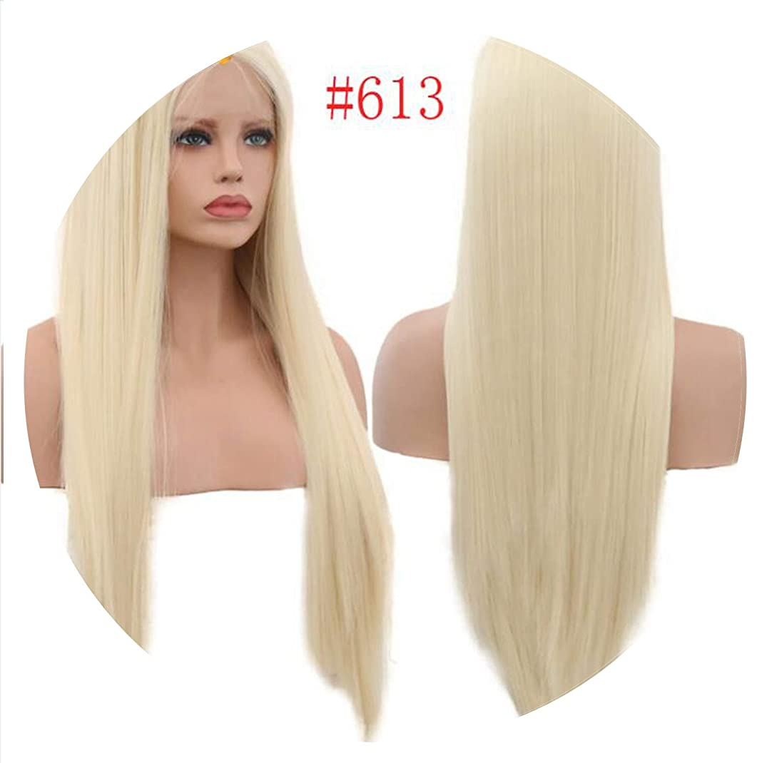 150% Density Silky Straight Synthetic Lace Front Wigs Blond Heat Resistant Wigs Part,#613,22inches