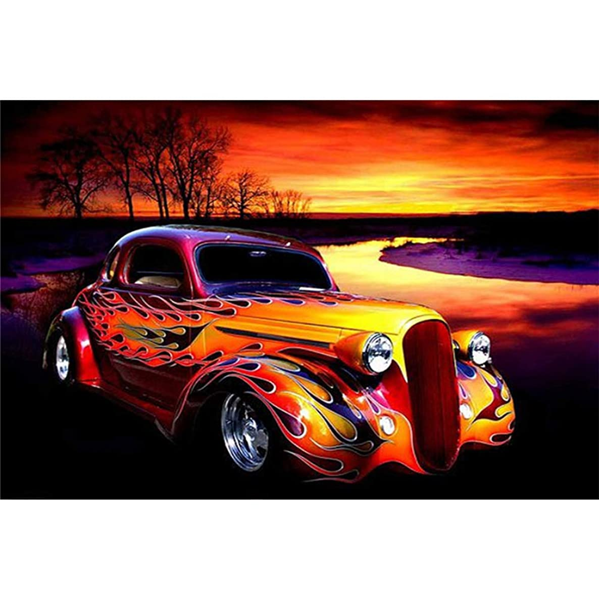 5D DIY Diamond Painting Classical Car Full Drill Cross Stitch Craft Kit Wall Stickers for Living Room Decoration Drawing Art Supplies Painting Paint Finishes