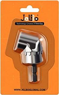 JelBo 105° Right Angle Drill Adapter, 1/4inch Hex Shank Right Angle Drills Attachment, Power Tools Accessories for Screwdriver Bits, Drive Socket Adapter by Electric Drill(Silver)