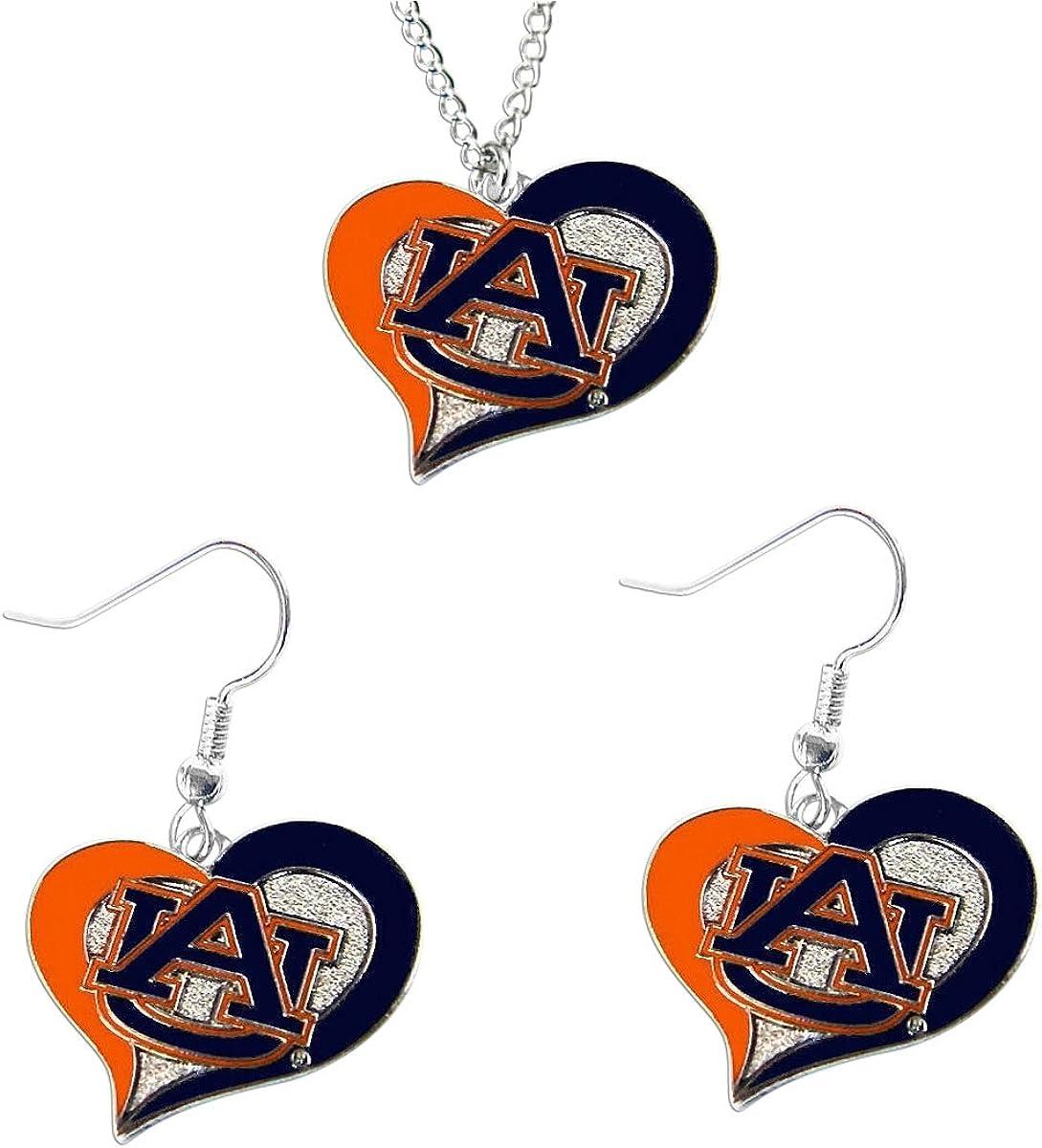 aminco NCAA womens Swirl Heart Earrings & Pendant Set
