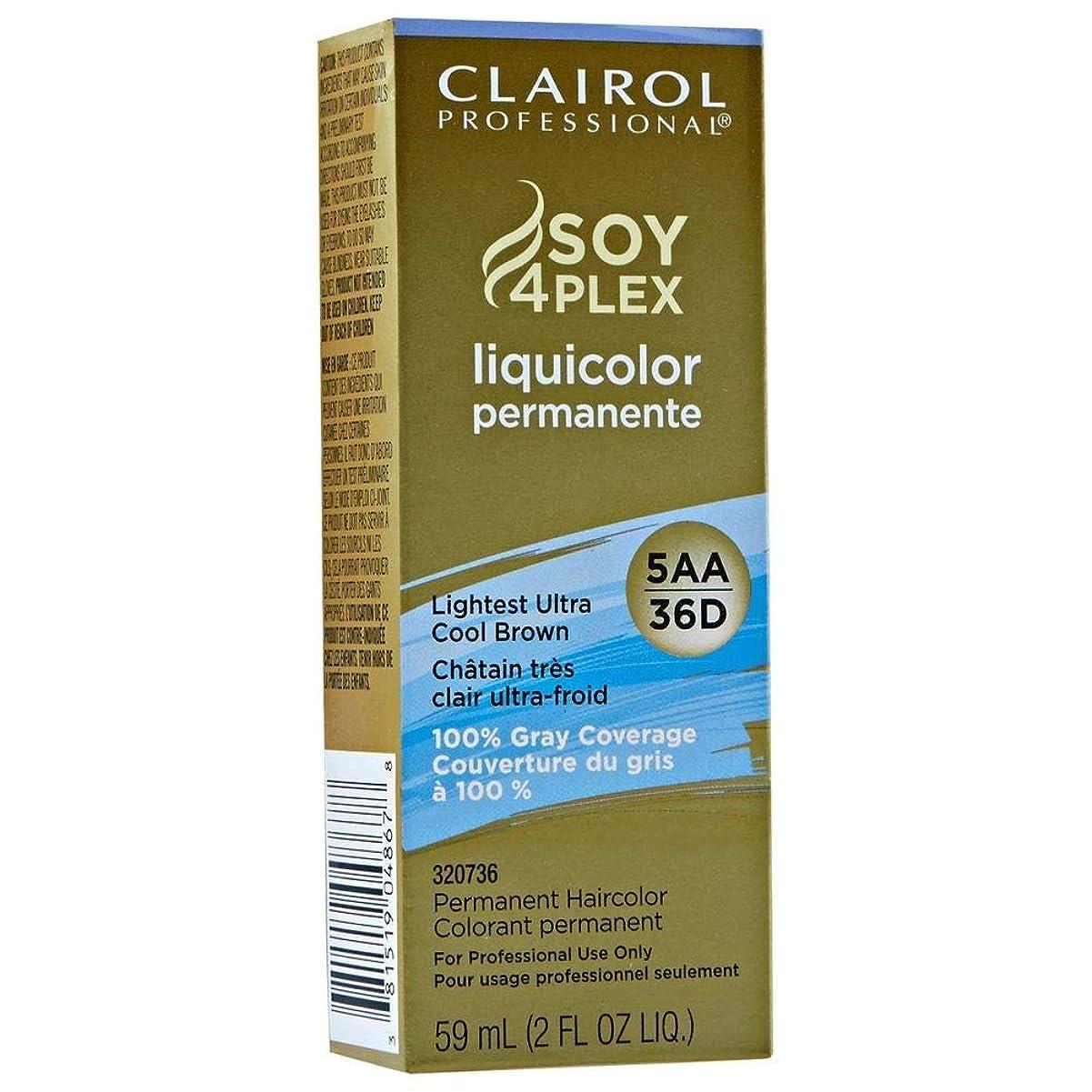 叫ぶパートナースポットClairol Professional Soy 4 Plex Liquicolor Permanent 36D Lightest Ultra Cool Brown 59 ml (並行輸入品)