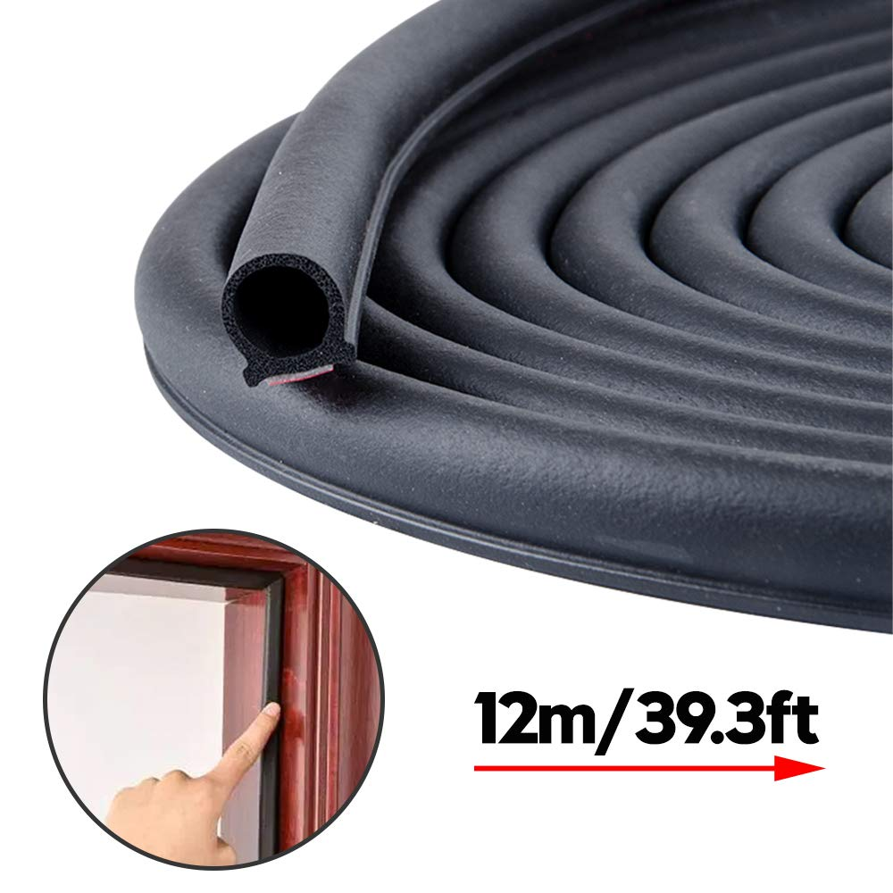 from 5//16 inch to 35//64 inch Soundproofing Seal Strip Self-Adhesive Backing Seals Large Gap 19.7 Feet Long Weather Stripping Seal Strip for Doors//Windows