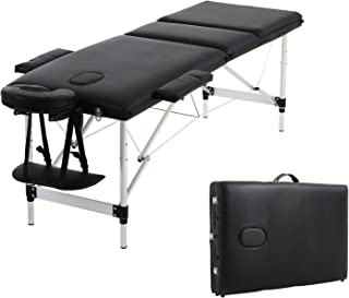 Soges Massage Table 73 inches Massage Bed 3-section Aluminum Frame Portable Spa Bed Folding Facial Bed Adjustable Lash Bed Tattoo Table with Headrest Armrest, Black, KH3108S-BK