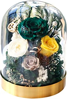Golden Base Glass Cover Eternal Flower, Romantic Valentine's Day Gift, Creative Classic Dried Flower Glass Rose Bottle Decor, Durable and Never-Witherd, for Birthdays, Festives,Mother's Day (C)