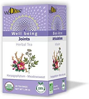 Valdena Bio 100% All-Natural Organic Flavored Harpagophytum, Meadowsweet and Peppermint, Pack of 3 - 20 Individually wrapp...