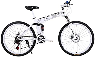 Iuhan Adults Mountain Bikes 26 Inch Mountain Bike for Women Men Folding Mountain Bike Variable Speed Bicycle 21 Speed Boy and Girls Outroad Bike Travel Bicycle (White)