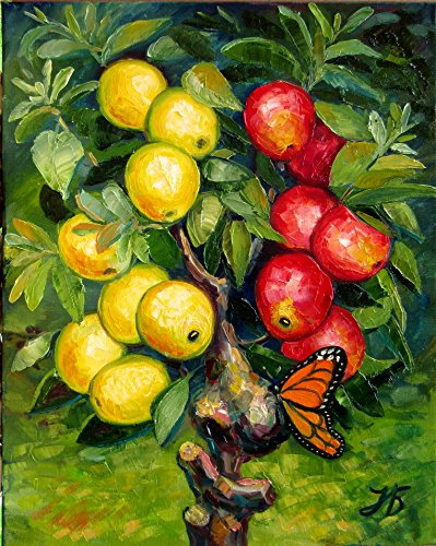 "Butterfly Teasing Apple Tree 20X16"" Hand Painted by Nadia Bykova Original Oil Painting Butterfly Apples Tree Impasto Textured Oil Pallet Knife New Home Art Decor Baby Shower Birthday Best Gift Idea"