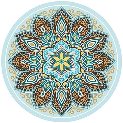 hsj LF- Esterilla de yoga redonda de ante impreso grande, de goma natural, antideslizante, estilo chino, tapete de meditación antideslizante (color: 5)