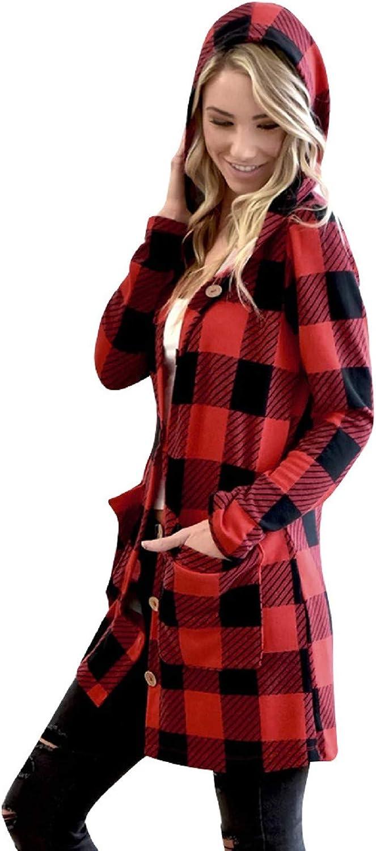 Amaeen Coats for Womens Fashion Hooded Long Sleeve Cardigan Jacket Red Plaid Mid Length Coat Loose Soft Casual Overcoat