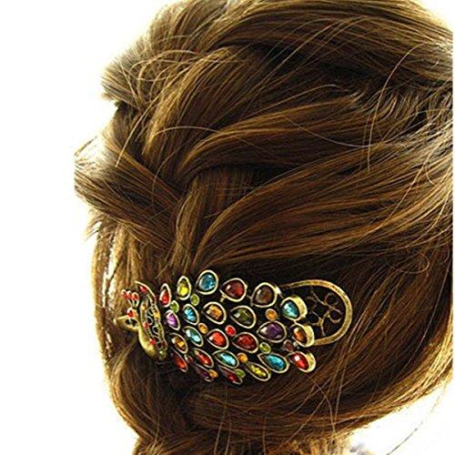 Colorful Retro bijoux strass cristal Peacock clip vintage de cheveux