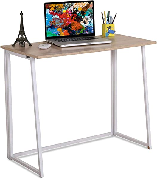 4NM Folding Table Small Foldable Computer Desk Home Office Laptop Table Writing Desk Compact Study Reading Table For Small Space Space Saving Office Table Natural And White