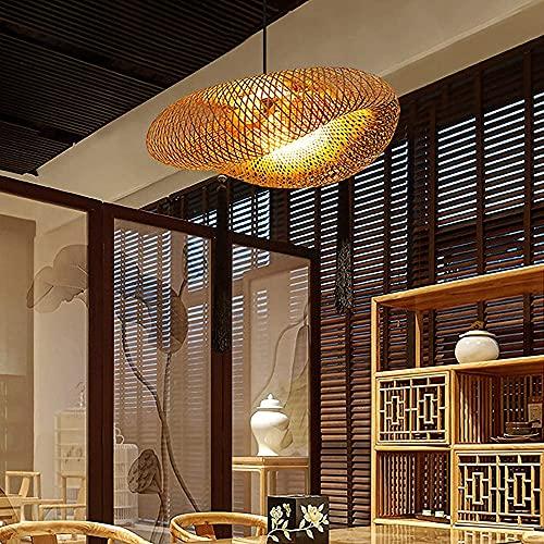 Luz del colgante de la isla de la cocina de bambú de tejido, arte creativo de la lámpara de la lámpara de la lámpara de la lámpara de la lampana de la lata de la lampana, vintage ratán ratán araña for