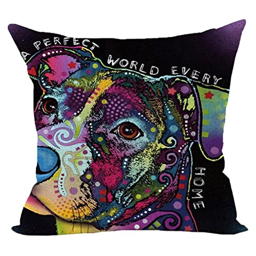 HUHU833 45cm*45cm Pillow Case, Cute Dog Sofa Bed Home Decoration Festival Pillow Case Cushion Cover (Dog V)