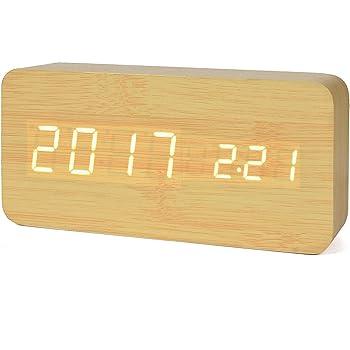 iitrust Horloge en Bois, LED Réveil Digital en Bois avec TempératureCalendrier Mode Vocal Trois Alarmes Bamboo