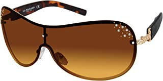 U.S. POLO ASSN. Women's PA5025 Crystal Shield UV Protective Sunglasses   All-Season   A Classic Gift, 65 mm (pack of 1)