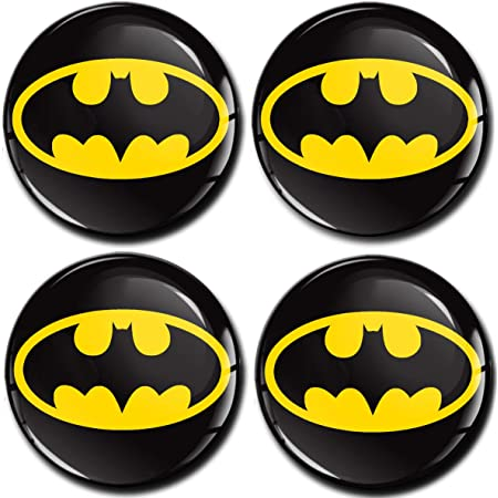 Skinoeu 4 X 55mm Aufkleber 3d Gel Silikon Autoaufkleber Stickers Batman Felgenaufkleber Für Radkappen Nabenkappen Radnabendeckel Rad Aufkleber Nabendeckel Auto Tuning A 455 Auto