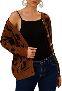 007XIXI Womens Clothes Sale Clearance Sale Amazon Choice Fashion Women Knitted Leopard Print Long Sleeve Cardigan T-Shirt Sweater Coat