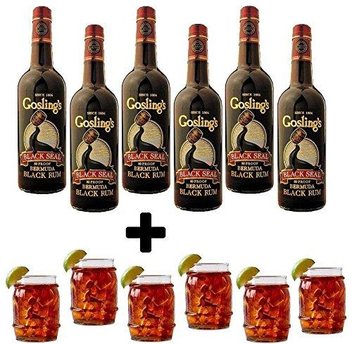RUM BLACK SEAL 1 LT 6 Flaschen mit 6 Flaschen in der Form von Flaschen