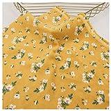 Nette Cord Stoff Blumenmuster Gelb Weicher Cordstoff für