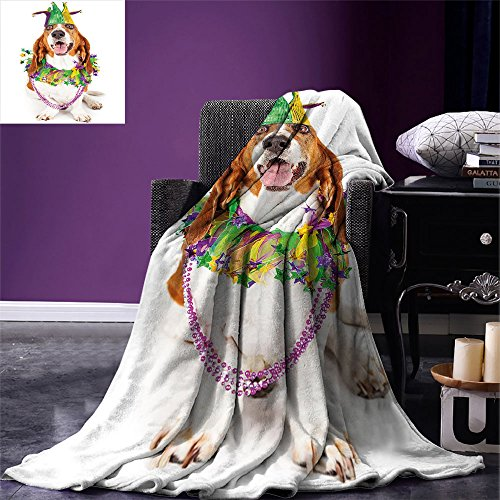 smallbeefly Mardi Gras Digital Printing Blanket Happy Smiling Basset Hound Dog Wearing a Jester Hat Neck Garland Bead Necklace Summer Quilt Comforter Multicolor