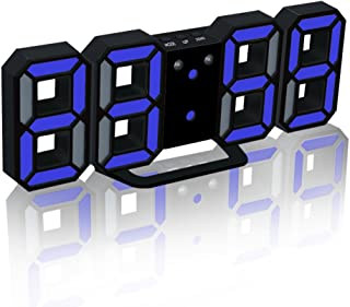 EAAGD Electronic LED Digital Alarm Clocks [Upgrade Version], Clock Can Adjust The LED Brightness Automatically in Night (Black/Blue)
