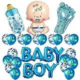 Juego de 14 globos de revelación de género para baby shower, fiesta de cumpleaños, decoración para baby shower, revelación de género, boda fiesta de cumpleaños, niño