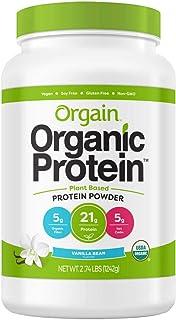 Orgain Organic Plant Based Protein Powder, Vegan, Low Net Carbs, Non Dairy, Gluten Free, Lactose Free, No Sugar Added, Soy Free, Kosher, Non-GMO (.2.74lb, VanillaBean)