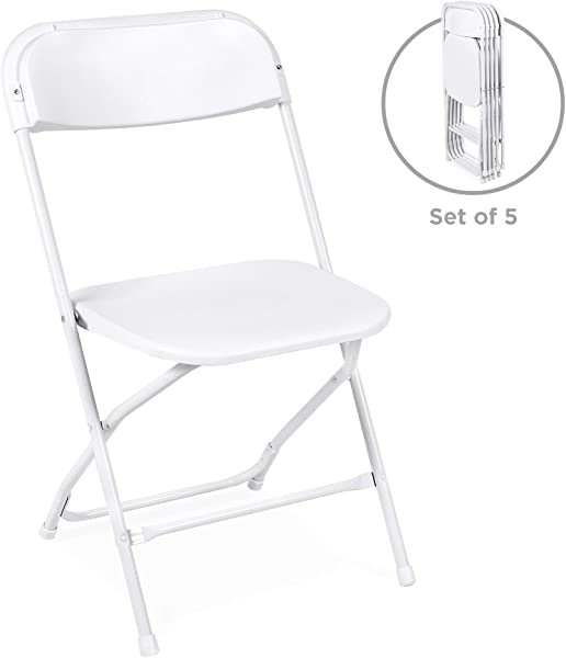 Best Choice Products Set Of 5 Indoor Outdoor Portable Stackable Lightweight Plastic Folding Chairs For Events Parties White